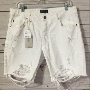 Zara Man Distressed White Jean Shorts Ripped NWT